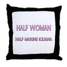 Half Woman Half Marine Iguana Throw Pillow