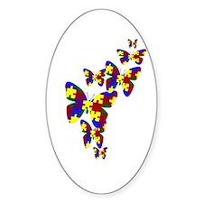 Burst of butterflies Oval Bumper Stickers