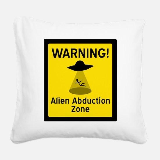 Alien Abduction Zone Square Canvas Pillow