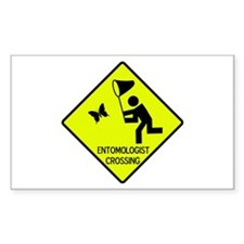Entomolgist Crossing Rectangle Bumper Stickers