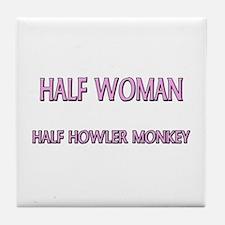 Half Woman Half Howler Monkey Tile Coaster