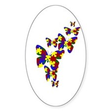 Burst of butterflies Oval Stickers