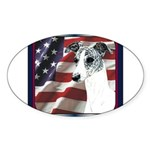 Brindle Whippet Patriotic USA Flag Oval Sticker