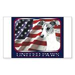 BrindleWhippet Dog USA Flag Rectangle Sticker