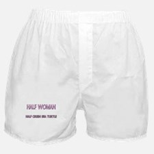 Half Woman Half Green Sea Turtle Boxer Shorts