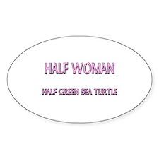Half Woman Half Green Sea Turtle Oval Decal