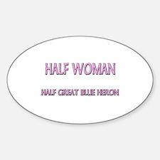 Half Woman Half Great Blue Heron Oval Decal