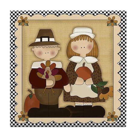 Thanksgiving Pilgrims Tile Coaster