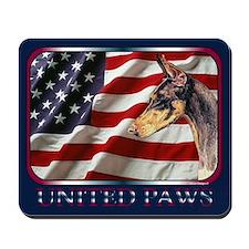 Doberman Pinscher Dog Patriotic USA Flag Mousepad