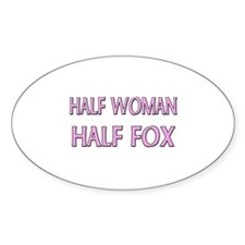 Half Woman Half Fox Oval Decal