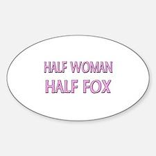 Half Woman Half Fox Oval Decal