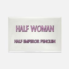 Half Woman Half Emperor Penguin Rectangle Magnet