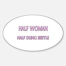 Half Woman Half Dung Beetle Oval Decal