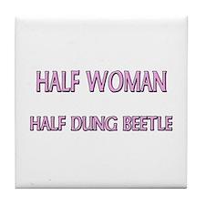 Half Woman Half Dung Beetle Tile Coaster