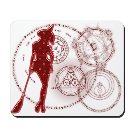 Witching Circles Red Mousepad