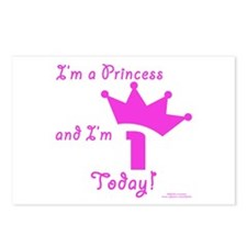 1st birthday Princess Postcards (Package of 8)