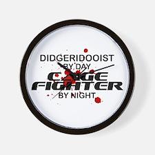 Didgeridooist Cage Fighter by Night Wall Clock