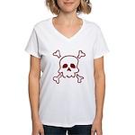 Cartoon Skull & Crossbones Women's V-Neck T-Shirt