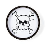Cartoon Skull & Crossbones Wall Clock