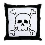 Cartoon Skull & Crossbones Throw Pillow
