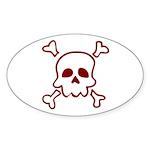 Cartoon Skull & Crossbones Sticker (Oval 10 pk