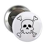 """Cartoon Skull & Crossbones 2.25"""" Button"""