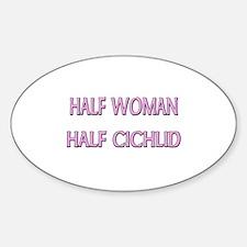 Half Woman Half Cichlid Oval Decal