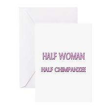 Half Woman Half Chimpanzee Greeting Cards (Pk of 1