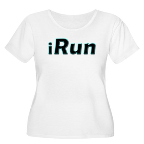 iRun, aqua trim Women's Plus Size Scoop Neck T-Shi