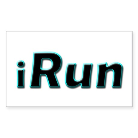 iRun, aqua trim Rectangle Sticker