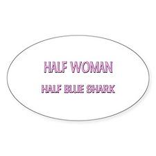 Half Woman Half Blue Shark Oval Decal
