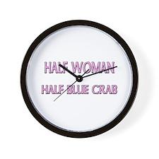 Half Woman Half Blue Crab Wall Clock