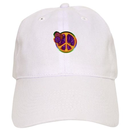 Flower Power Peace Sign Cap