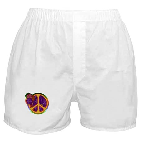 Flower Power Peace Sign Boxer Shorts