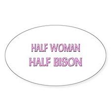 Half Woman Half Bison Oval Decal