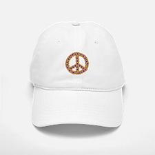 Flower Power Peace Sign Baseball Baseball Cap