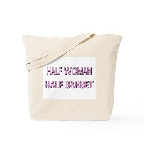 Half Woman Half Barbet Tote Bag