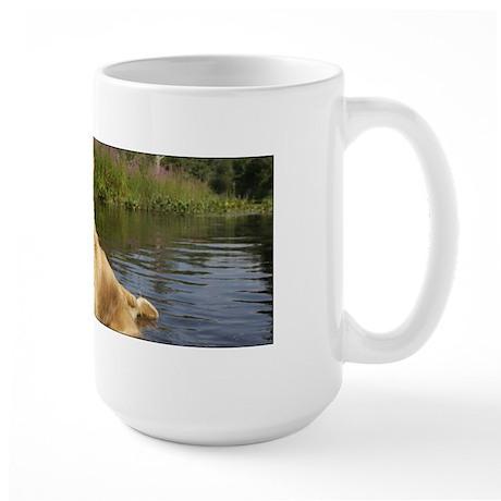 Wet Golden in the Pond Large Mug