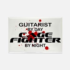 Guitarist Cage Fighter by Night Rectangle Magnet