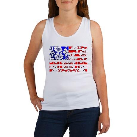 Hawaiian American Flag Women's Tank Top