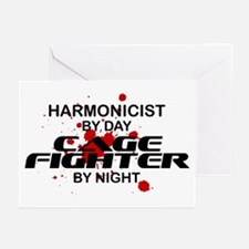 Harmonicist Cage Fighter by Night Greeting Cards (