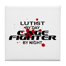 Lutist Cage Fighter by Night Tile Coaster