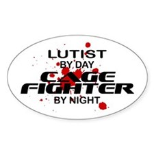 Lutist Cage Fighter by Night Oval Decal