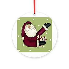 Candy Cane Santa Christmas Ornament (Round)
