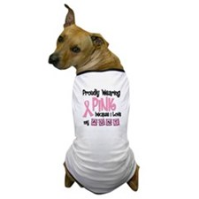 Proudly Wearing Pink 2 (Aunt) Dog T-Shirt