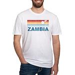 Retro Palm Tree Zambia Fitted T-Shirt