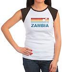 Retro Palm Tree Zambia Women's Cap Sleeve T-Shirt