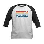Retro Palm Tree Zambia Kids Baseball Jersey