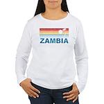 Retro Palm Tree Zambia Women's Long Sleeve T-Shirt