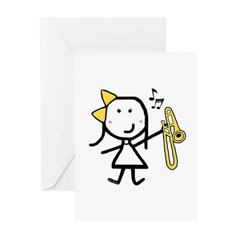 Girl & Trombone Greeting Card